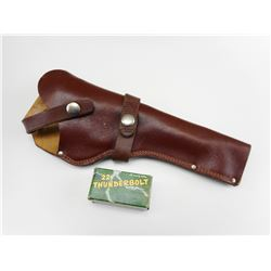 22 THUNDERBOLT AMMO, LEATHER HOLSTER
