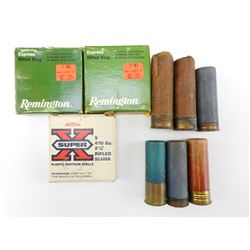 410 GAUGE RIFLED SLUGS, 12 GAUGE SHOTSHELLS, 2 EMPTY PAPER SHELLS