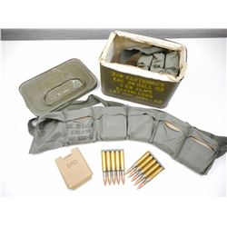 .30 BALL M2 AMMO ON STRIPPER CLIPS IN BANDOLEERS, ALL IN METAL TIN