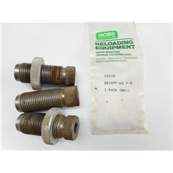 RELOADING DIES 38 SPL., 357, 223 REM, DECAPPING PINS