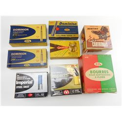 ASSORTED EMPTY SHOTGUN AMMO BOXES, VINTAGE AMMO BOXES ASSORTED, AND CIL SHOTGUN SHELL BOX WITH WADS
