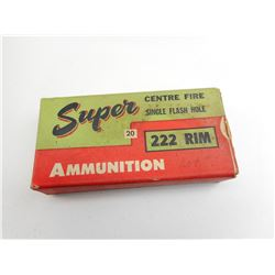 SUPER CEMTRE FIRE SINGLE FLASH HOLE, 222 RIM, COLLECTOR AMMO BOX