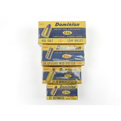 DOMINION COLLECTOR BOXES, 25 AUTO, 32-20, 455 COLT, AND 38 SP