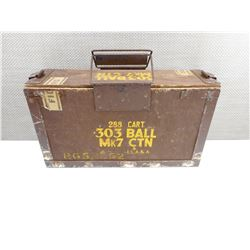 WOOD AMMO TIN, WITH METAL TIN INSIDE