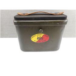 VINTAGE HERTER'S INC. METAL AMMO BOX SEAT CASE CAN WASECA MINN HUDSON BAY RARE