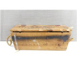 WOODEN AMMO TIN, WITH METAL AMMO TIN INSIDE