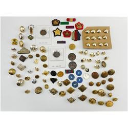 ASSORTED BUTTONS, PIPS & RIBBONS