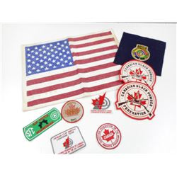 ASSORTED SPORTS PATCHES & BADGES WITH U.S. FLAG