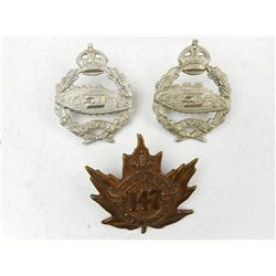 CANADIAN OVERSEAS & ARMOURED CORPS CAP BADGES