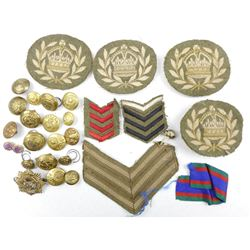 ROYAL CANADIAN ARMY SERVICE CORPS CAP BADGE, BUTTONS AND CLOTH BADGES