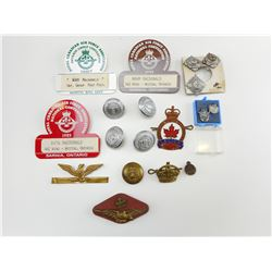 ASSORTED WWI/II & LEGION BUTTONS, PINS & PIPS