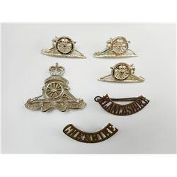 BRITISH WWI/II CAP/COLLAR BADGES & SHOULDER PINS
