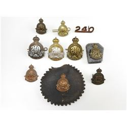 CANADIAN 240TH OVERSEAS BATTALION CAP & COLLAR BADGES