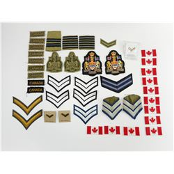 ASSORTED STRIPE , CANADIAN FLAG, AND CREST BADGES/PATCHES