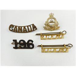 CANADIAN WWI/II SHOULDER TITLES & COLLAR BADGES