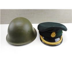 BRITISH HELMET & CANADIAN OFFICER'S CAP