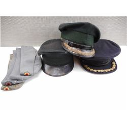 ASSORTED OFFICERS HATS & GERMAN SIDE HATS