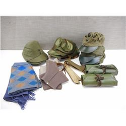 ASSORTED MILITARY HATS & MILITARY GEAR