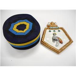 PILL BOX HAT & H.M.C.S. UGANDA SHIPE CREST PLAQUE