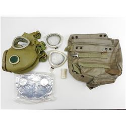 RUSSIAN SURPLUS GAS MASK WITH ACCESSORIES & BAG
