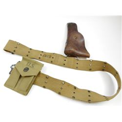 WWII LEATHER U.S. HOLSTER WITH BELT & MAGAZINE POUCH