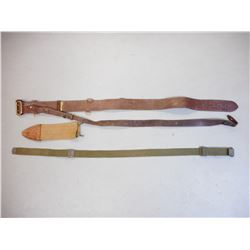 ASSORTED MILITARY BELT, SLING & SCABBARD COVER