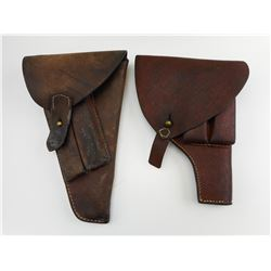 ASSORTED WWII DOUBLE MAGAZINE LEATHER HOLSTERS