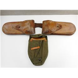 U.S. INTRENCHING TOOL HOLSTER & WWI ERA LEATHER SADDLE BAGS