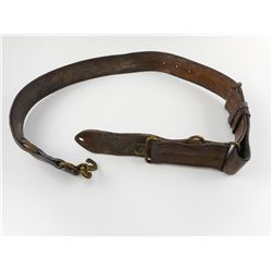WWI CANADIAN/BRITISH LEATHER BELT WITH DOUBLE HEADED SNAKE BUCKLE