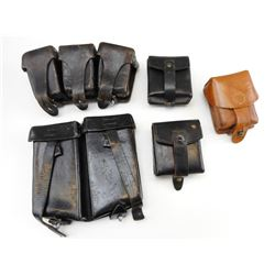 ASSORTED LEATHER AMMO POUCHES