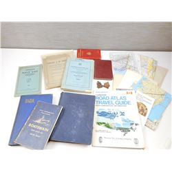 ASSORTED MILITARY TRAINING BOOKS, GUIDES, MAPS & CAP BADGES