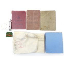 ASSORTED WWI/II VETERANS SERVICE BOOKS & PERSONAL ITEMS
