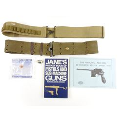 ASSORTED MILITARY FIREARMS BOOKS & BELTS