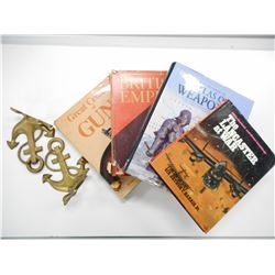 ASSORTED WEAPONS BOOKS, BRITISH EMPIRE BOOKS & BOOK ENDS
