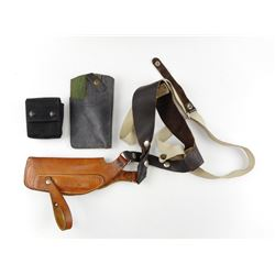 S&W LEATHER SHOULDER HOLSTER WITH EXTRA HOLSTER & POUCH