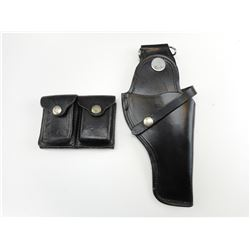 LEATHER POLICE STYLE HOSLTERS WITH MAGAZINE HOLSTER