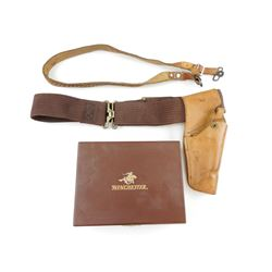 LEATHER HOLSTER & SLING WITH ASSORTED HUNTING INFO & WINCHESTER BOX