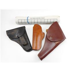 ASSORTED LEATHER HOLSTERS WITH TARGET PAPER