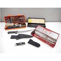 ASSORTED CLEANING EQUIPMENT & MULTI-TOOLS