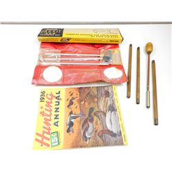 VINTAGE BRITE-BORE CLEANING KIT, WOODEN CLEANING ROD & VINTAGE HUNTING MAGAZINE