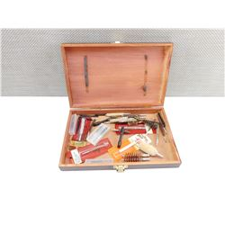 WOODEN BOX OF CLEANING ACCESSORIES
