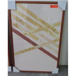 "Framed Diagonal Strips Abstract Art, Rectangular Wooden Frame 25.5"" x 38"""