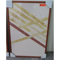 Framed Diagonal Strips Abstract Art, Rectangular Wooden Frame 25.5  x 38