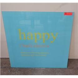 "Framed ""happy"" Wall Sign, 30"" x 30"" Gloss Blue"