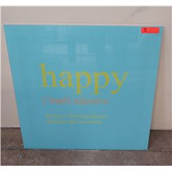 "Framed ""happy"" Wall Sign, 30"" x 30"" Gloss Blue"