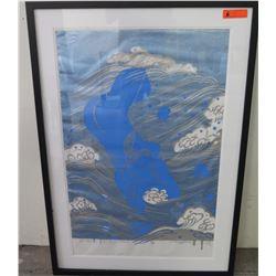 "Framed Waves Art w/Woman Figure, Signed Mayumi, Ltd. Ed 30 of 58, Frame 32.5"" x 47"""