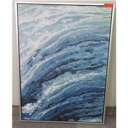 """Framed Embellished Giclee """"Wave"""" Art, Frame 36"""" x 47"""""""