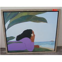 """Framed Pegge Hopper Art, No Signature, Frame 40"""" x 34"""""""
