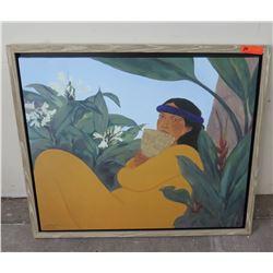 """Framed Pegge Hopper Giclee Art, Signed, Yellow Frame 40"""" x 34"""""""