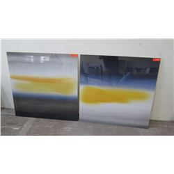 """Pair of Abstract Wall Art, Stacked White Yellow Blue 40"""" x 40"""""""